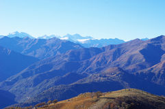 Panorama of Western Alps and Northern Italy stock photo