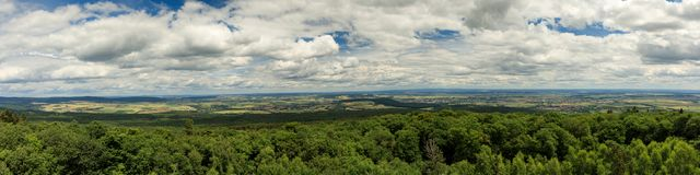 Panorama of the Wetterau as seen from viewpoint Winterstein Royalty Free Stock Photo