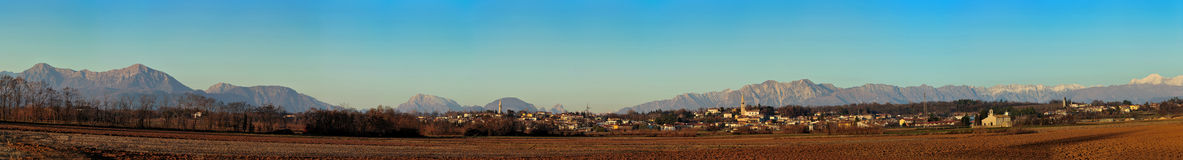 panorama where it detaches the town of madrisio Royalty Free Stock Images