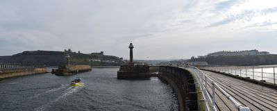Panorama of Whitby lighthouse, North Yorkshire Royalty Free Stock Image