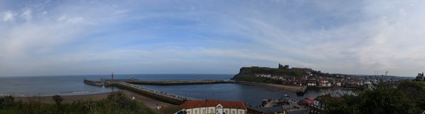 Panorama of Whitby Town and Harbor, North Yorkshire, UK Stock Images