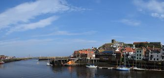 Panorama of Whitby Town and Harbor, Whitby stock image
