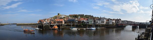 Panorama of Whitby Town and Harbor, Whitby royalty free stock photo