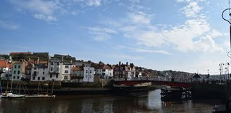Panorama of Whitby Town and Harbor, Whitby stock images