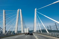 Panorama with a white bridge royalty free stock images