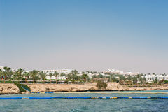 Panorama of white city and the blue sea Royalty Free Stock Photography