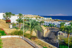 Panorama of white city at a tropical holiday resort, Egypt Royalty Free Stock Images