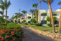 Panorama of white city at a tropical holiday resort, Egypt Stock Photography