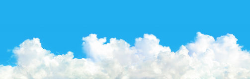 panorama of white cloud on blue sky stock photos