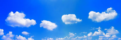 panorama of white clouds on blue sky stock image