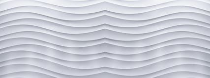 Panorama of white concrete wall with a wave line pattern stock images