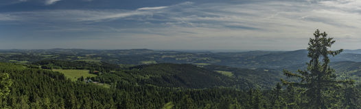 Panorama from White cross in Jizerske mountains Royalty Free Stock Image