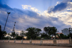 Panorama of white cumulus clouds in deep blue sky Royalty Free Stock Image
