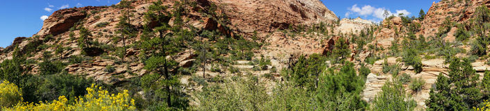 Panorama, White and red sandstone mountains Royalty Free Stock Images