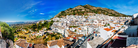 Panorama of white village of Mijas Stock Photos