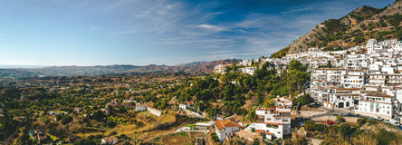 Panorama of white village of Mijas royalty free stock photography