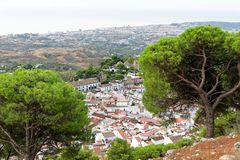 Panorama of white village of Mijas. Costa del Sol, Andalusia. Spain. Aerial view of the charming white village of Mijas in Andalusia, Costa del Sol, Southern Royalty Free Stock Photography