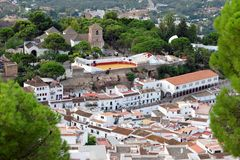 Panorama of white village of Mijas. Costa del Sol, Andalusia. Spain. Panorama of white village of Mijas. Costa del Sol, Andalusia. Spain - the Bullring and the Royalty Free Stock Images