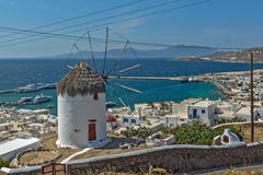 Panorama of white windmill and island of Mykonos, Greece Royalty Free Stock Photo