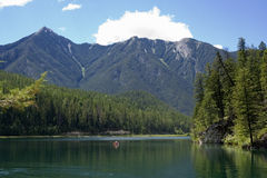 Panorama of the whiteswan lake with a canoe Royalty Free Stock Image