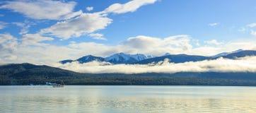 Panorama wide angle view of lake te anau important natural desti Stock Photos