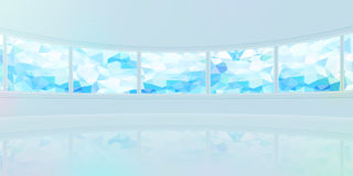 Panorama wide background Cubism pattern monitor blue. Design Stock Image