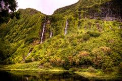Panorama widok Fai siklawa, Flores, Azores, Portugalia obrazy royalty free