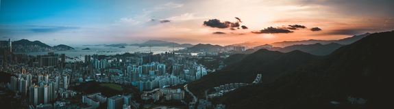 Panorama widok Hong Kong miasto Od nieba obraz stock