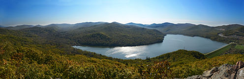 Panorama widok jesieni jezioro Obraz Stock