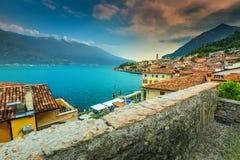 Panorama widok Limone sul Garda, Lombardy region, Włochy, Europa Obraz Royalty Free