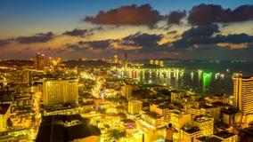 Panorama widok na liniach horyzontu w śródmieściu Pattaya, Thaila obrazy stock