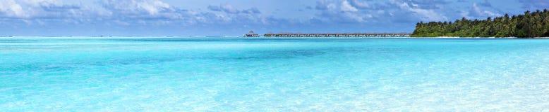 Panorama widok nadmierny wodny bungalow Obrazy Stock