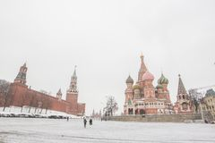 Panorama widok plac czerwony z ludźmi chodzi w zimie Zdjęcia Royalty Free