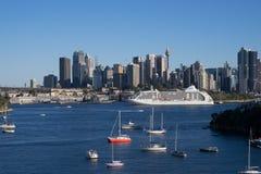 Panorama widok Sydney miasta schronienia widok od waverton punktu wi Obraz Stock