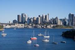 Panorama widok Sydney miasta schronienia widok od waverton punktu wi Zdjęcia Stock