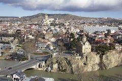 Panorama widok Tbilisi, kapitał Gruzja kraj Widok od Narikala fortecy Zdjęcia Stock