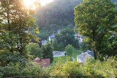 Panorama widok zdrojów ogródów park w Złym Schandau, sas Szwajcaria Obraz Royalty Free