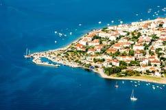 Panorama widoku przylądek Kameny Vourla miasto i morze egejskie, turysta obraz royalty free