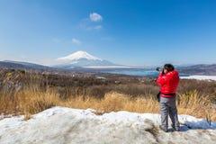 Panorama widoku punktu Fujisan Yamanaka jezioro zdjęcia royalty free