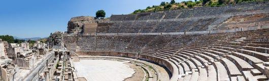 Panorama Wielki Theatre Ephesus, Turcja obrazy royalty free