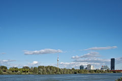 Panorama Wiens Donau Stockbild