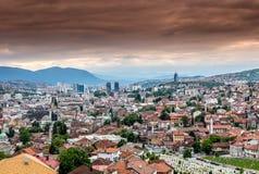 Panorama- wiev för Sarajevo stad arkivfoton