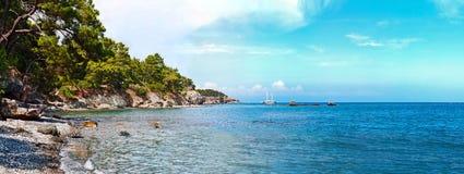 Panorama of wild beach. In Mediterranean sea in summer day, Turkey stock images