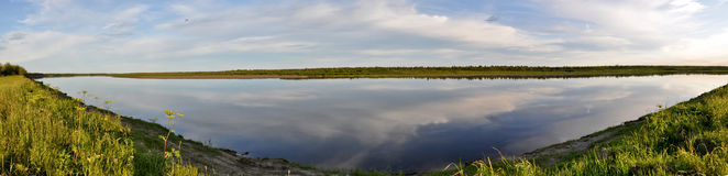 Panorama of the wild river. Stock Images