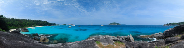 Panorama Wild Tropical Beach at Similan island Royalty Free Stock Photo