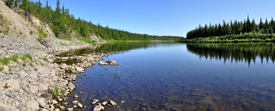 Panorama, wild Ural river. Stock Images