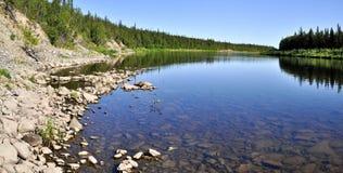 Panorama, wild Ural river. Royalty Free Stock Photo