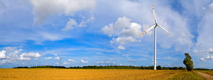 Panorama of wind turbines Stock Image