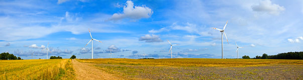 Panorama of wind turbines Royalty Free Stock Photo