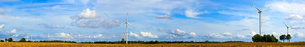 Panorama of wind turbines Royalty Free Stock Photos